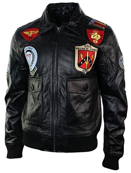 Il giubbotto di volo pilota marina militare US Navy piloti militari aviatore aviatori top gun giacca ciacche pelle con patch patches stemmi 301614